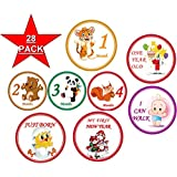 28 Baby Monthly Stickers - First Year - Mount to Mount Birthday and all Hollidays - Best Photos for your Boy and Girl - 4 inch diameter