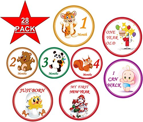 Baby Monthly Stickers 28 - First Year Stickers for Infant - Belly Stickers Boy Girl - Mount to Mount Birthday and all Hollidays - 4 inch diameter ()