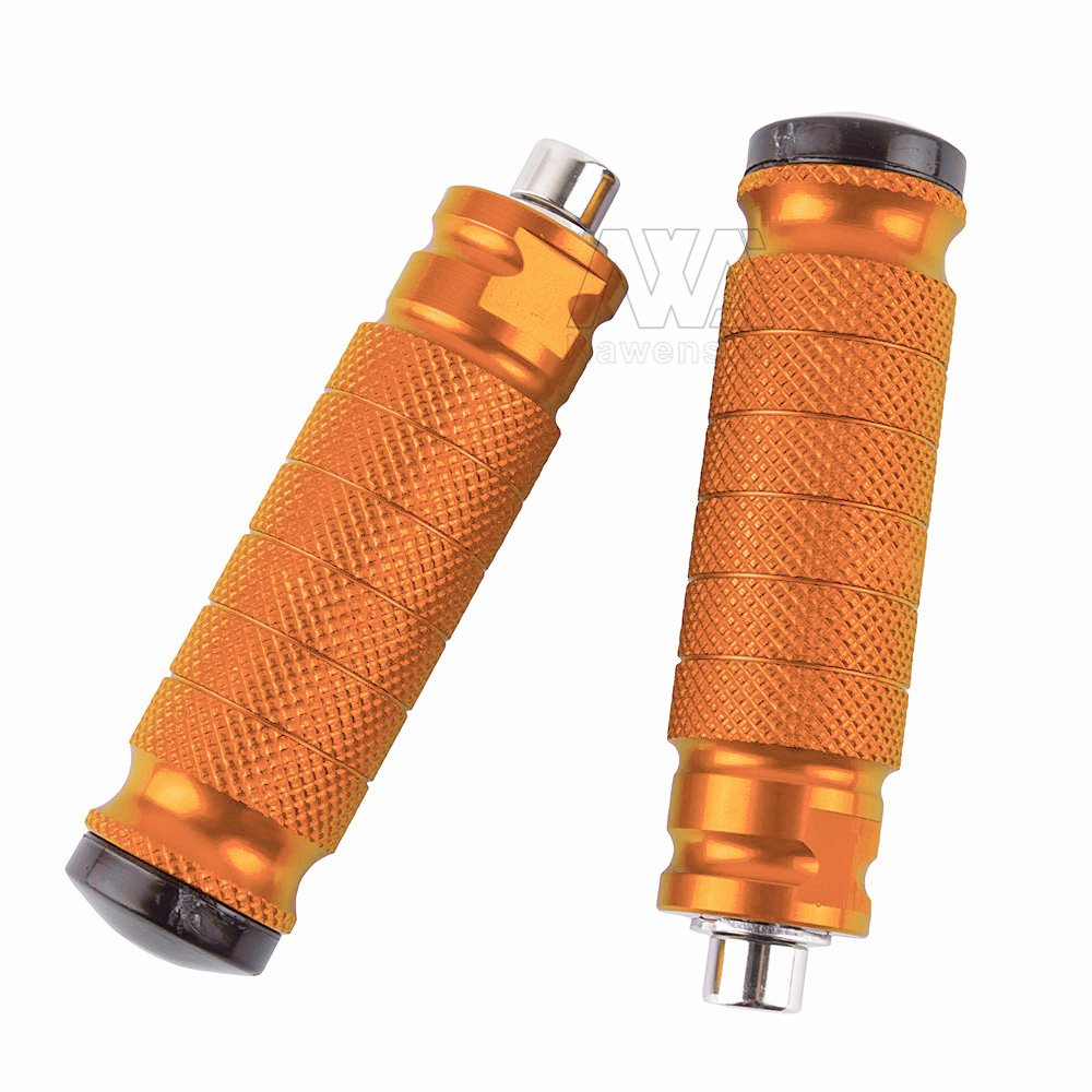 CNC Motorbike Rearset Footrests Footpeg Foot Pegs Pedals Universal For Motorcycle with M8 thread rear set (Orange)
