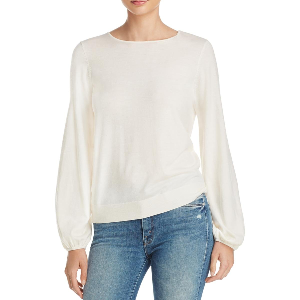 Elizabeth and James Womens Georgia Bishop Sleeves Solid Knit Top Ivory XS