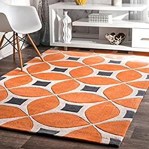 nuLOOM Deep Orange Hand Tufted Gabriela area rug Area Rug, 5' x 8'