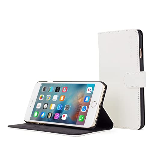 118 opinioni per Custodia per iPhone 6 Plus, Snugg- Custodia Bianca a Libretto in Ecopelle con