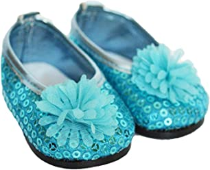 My Brittany/'s Blue Sequin Flats for American Girl Dolls 18 Inch Doll Shoes