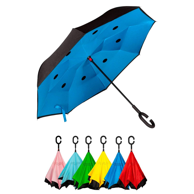 Golden Lemur Paraguas Invertido. Paraguas Originales Mujer y Hombre de Colores. Grande, para Coche Antiviento. Doble Capa, Reversible, Abre al Revés ...