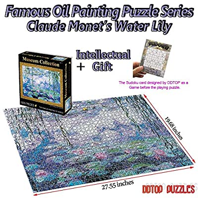 DDTOP Jigsaw Puzzles for Adults Teens - World Famous Painting Series - Claude Monet Water Lily Jigsaw Puzzle - Unique Premium Art Museum Collection 1000 Piece Puzzles Toys: Toys & Games
