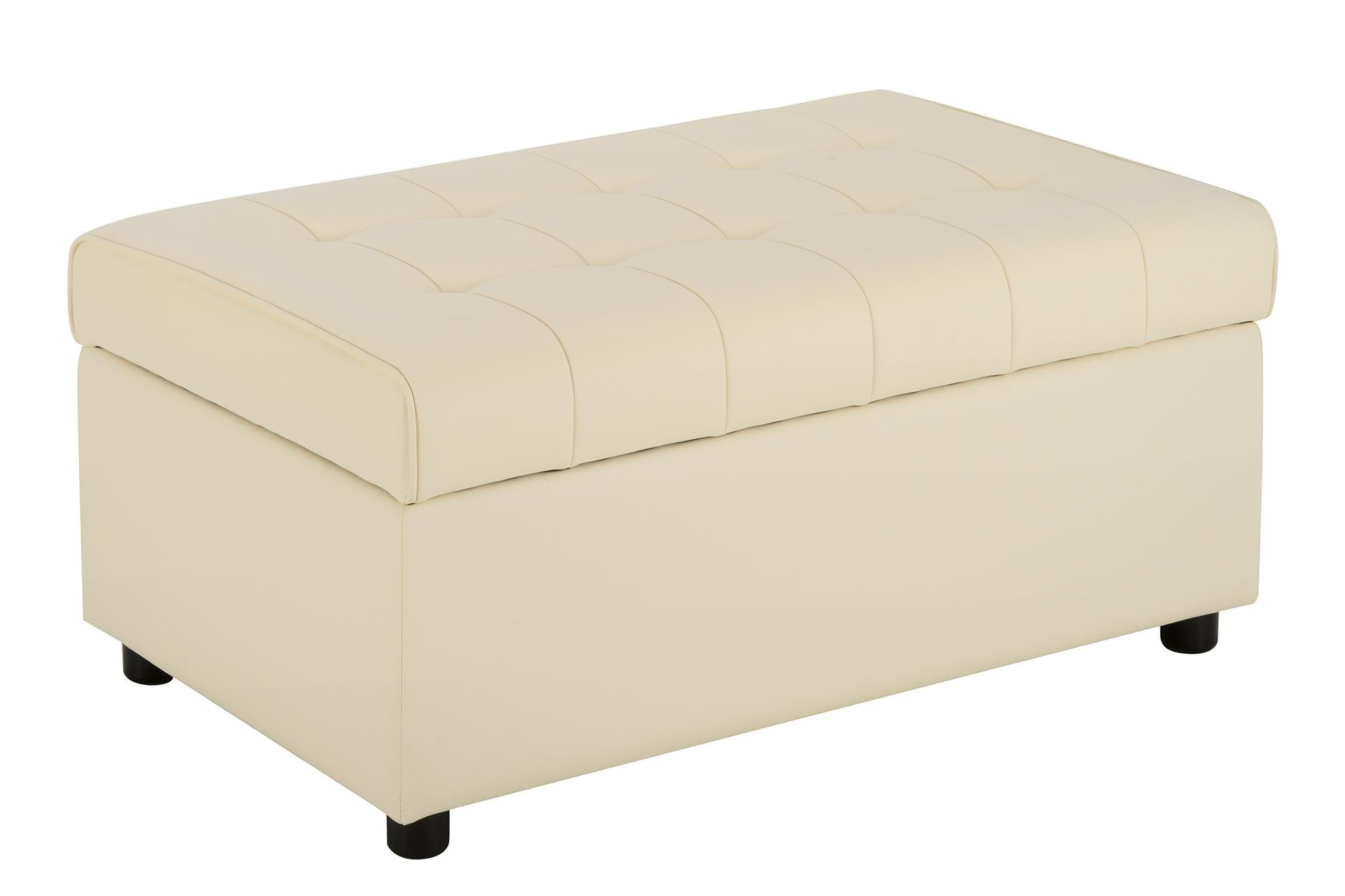DHP Emily Rectangular Storage Ottoman, Modern Look with Tufted Design, Lightweight, Vanilla Faux Leather