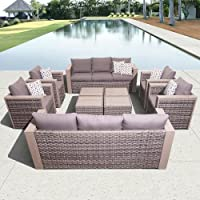 10 Piece Wicker Outdoor Patio Furniture Conversation Set w/ Cushions. Relax in Luxury! by I H