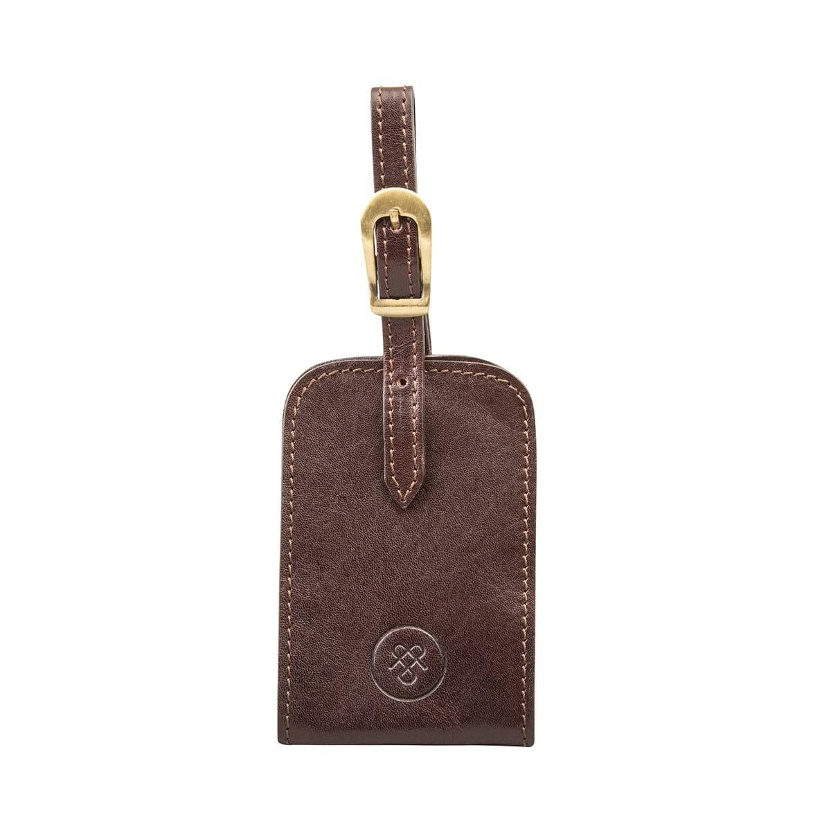 Maxwell-Scott Premium Dark Chocolate Brown Leather Bag Tag (The Ledro)