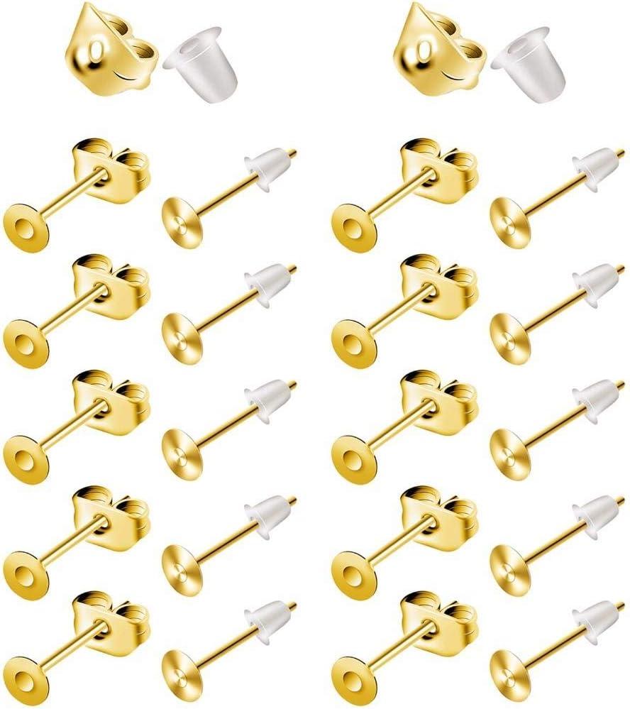 per creare gioielli 100 orecchini a perno in acciaio inox ipoallergenico da 6 mm 100 pezzi in silicone con 100 chiusure a farfalla gioielli