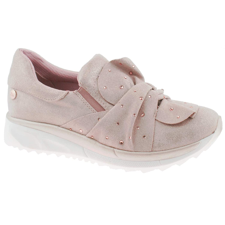 Womens Casual Faux Suede Front Slip On Diamante Sneaker Pumps Shoes