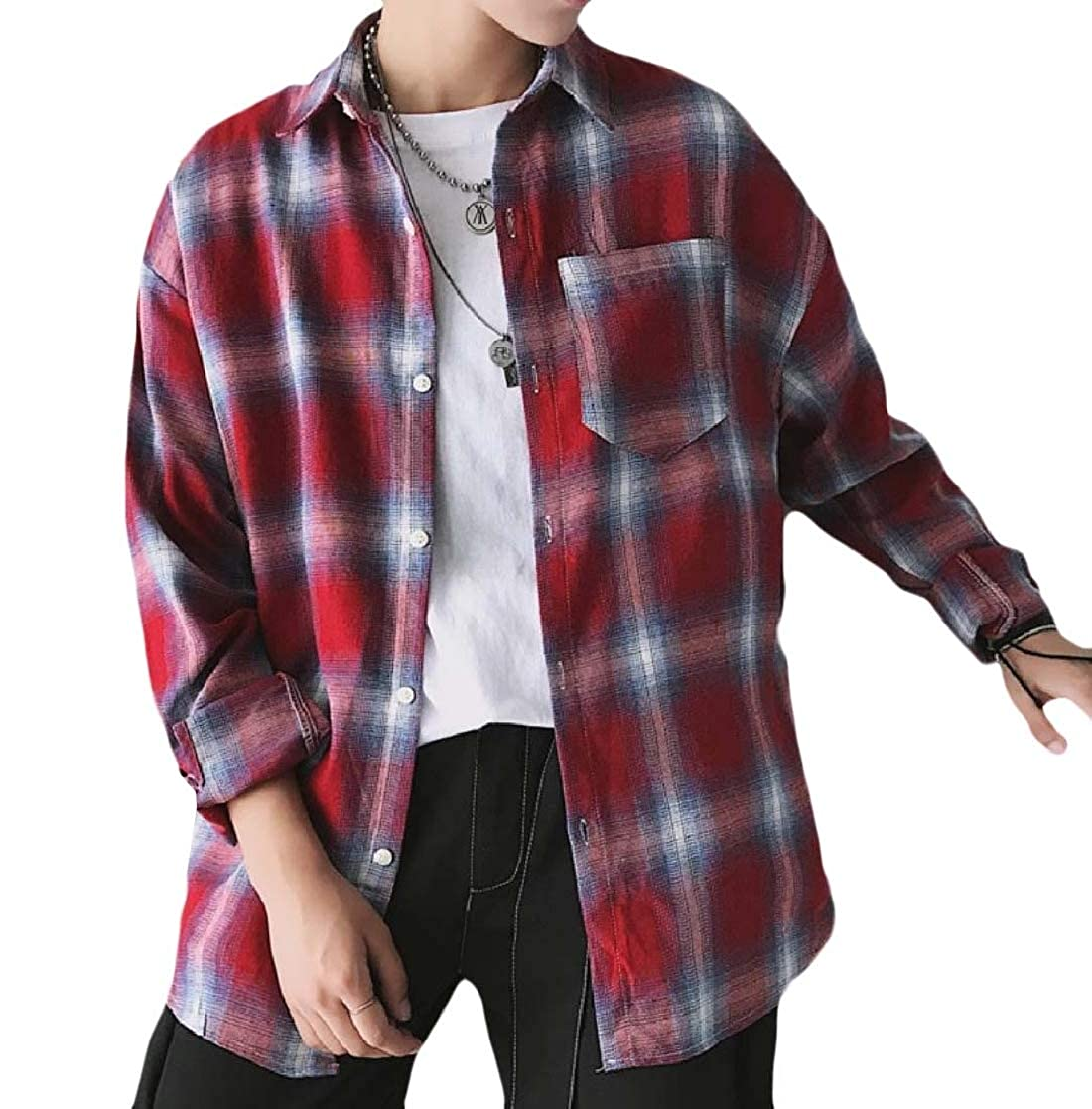 YUNY Mens Long Sleeve Button Regular Fit Oversized Plaid Western Shirt 12 S