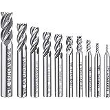 Afunta - Juego de 10 brocas de 4 puntas de punta de flauta para taladro recto HSS CNC (0,08-0,47 pulgadas, para madera…