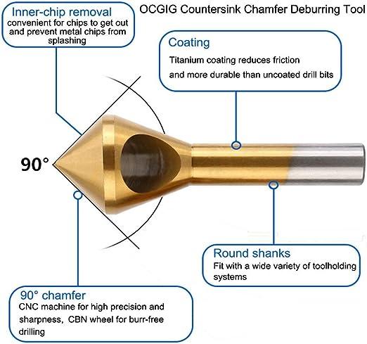 4pcs Titanium Coated Countersink Deburring Tool Set Metal Drill Bit Chamfer #w