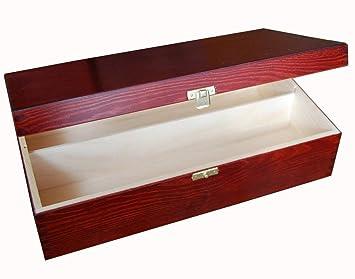 SO2mm Caja de madera para el vino - barnizada caja para el vino - para 2 botellas con bisagras 35x20x10: Amazon.es: Hogar