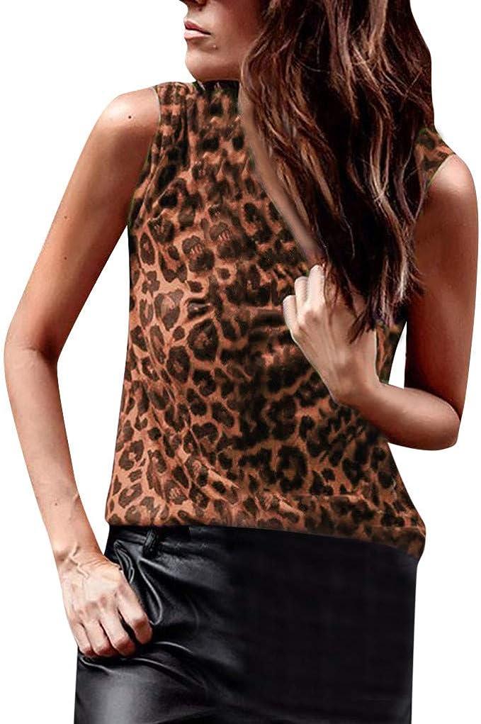 Luckycat Mujer Estampado de Leopardo Camisetas Tirantes Sin Mangas Camisas Blusas Vintage Algodón T Shirt Tops: Amazon.es: Ropa y accesorios