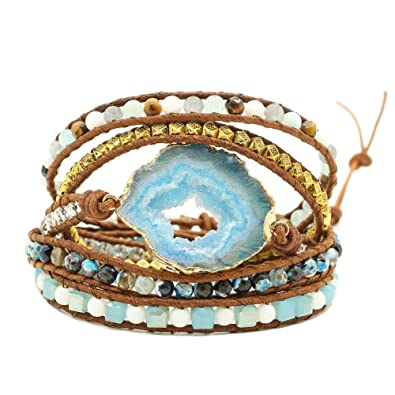 8d472f97c439a Amazon.com: Bonnie Gemstone Wrap Bracelet Cuff 5 Wraps Agate Bead ...