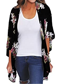 74b034037f Finoceans Womens Floral Chiffon Kimono Cardigans Loose Beach Cover Up Half  Sleeve Tops