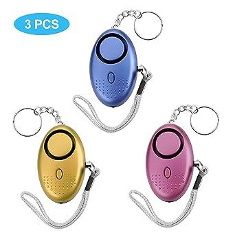 Alarma Personal, 140DB Alarma Seguridad Autodefensa con Luz LED Llaveros de Alarma, Niños, Ancianos, Turno nocturno - 3 Piezas