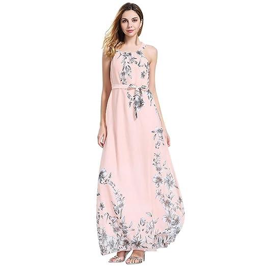 6eccdbd201ecf Conina Dress for Women, Floral Print Halter Chiffon Sleeveless Boho ...