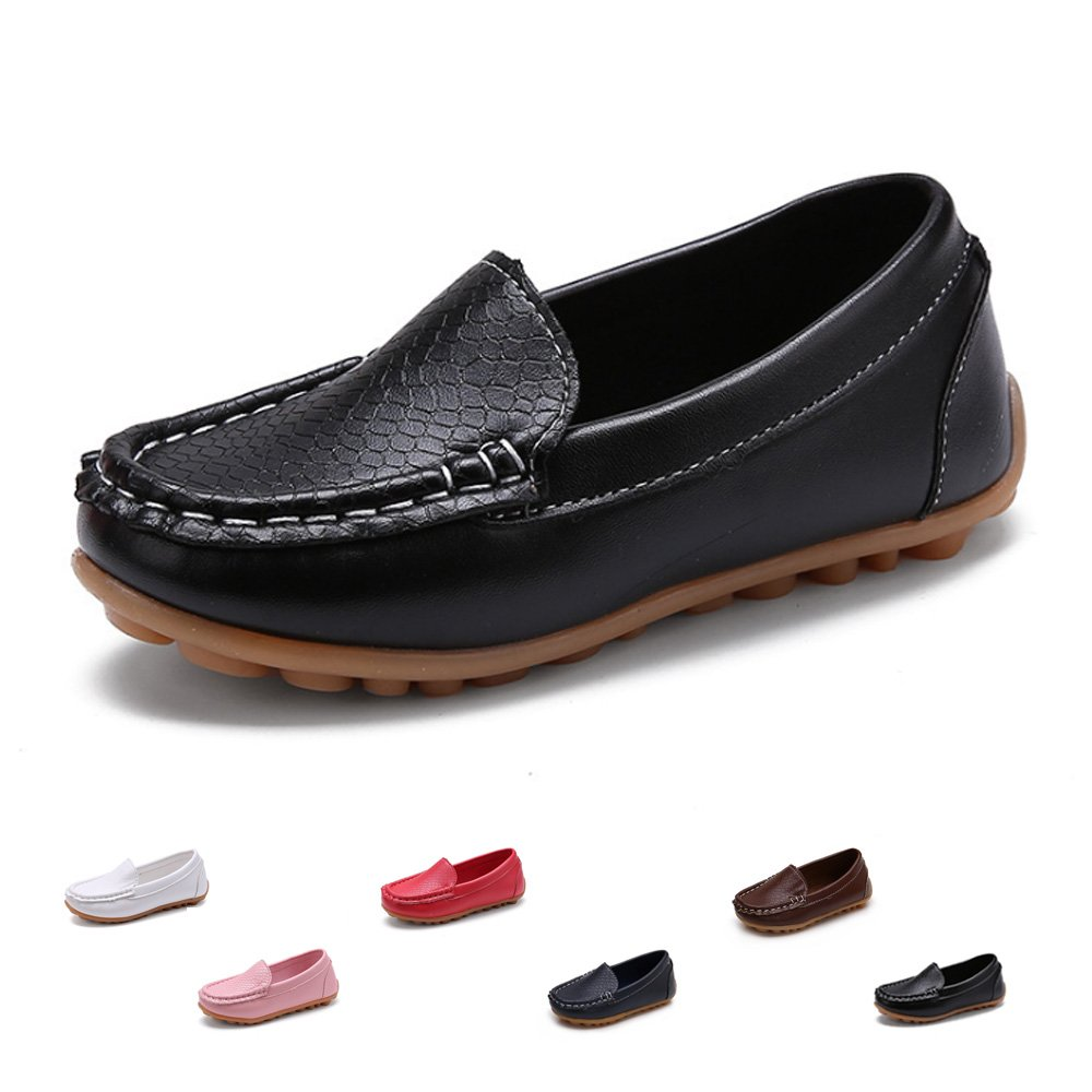 SOFMUO Boys Girls Leather Loafers Slip-On Oxford Flats Boat Dress Schooling Daily Walking Shoes(Toddler/Little Kids) Black,25