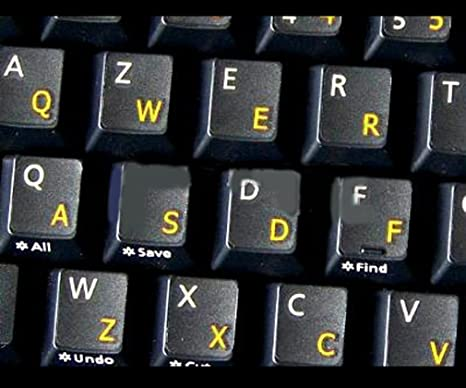 English UK Large Letter Black Keyboard Stickers with Yellow Letters Suitable for any keyboard