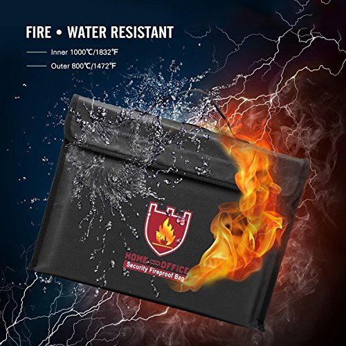 Suncentech Fireproof Safe Document Bag Water Resistant Fire Protective Security Storage Bag for Money, Documents, Passports, Card, Jewelry, Zipper & Velcro Closure (15'' x 11'' x 3'') by Suncentech