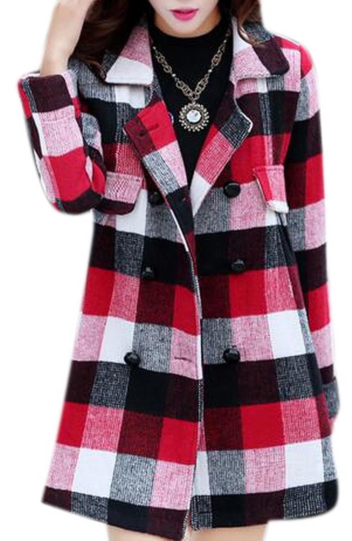 Allbebe Women's New Winter Fashion Lapel Plaid Slim Long Sleeve Woolen Coat