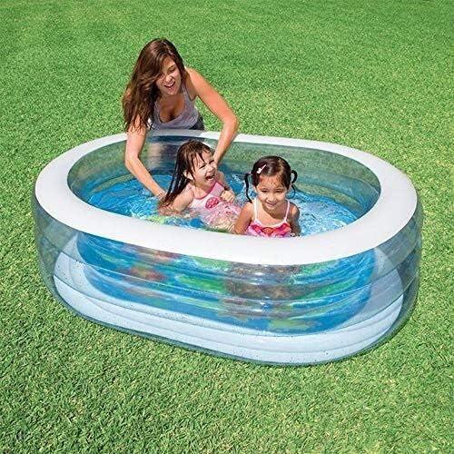 透明子供のオーバルインフレータブルスイミングプール、屋外ガーデンに適したマリンボールプール折り畳み式、 - 163 * 107 * 46センチメートル