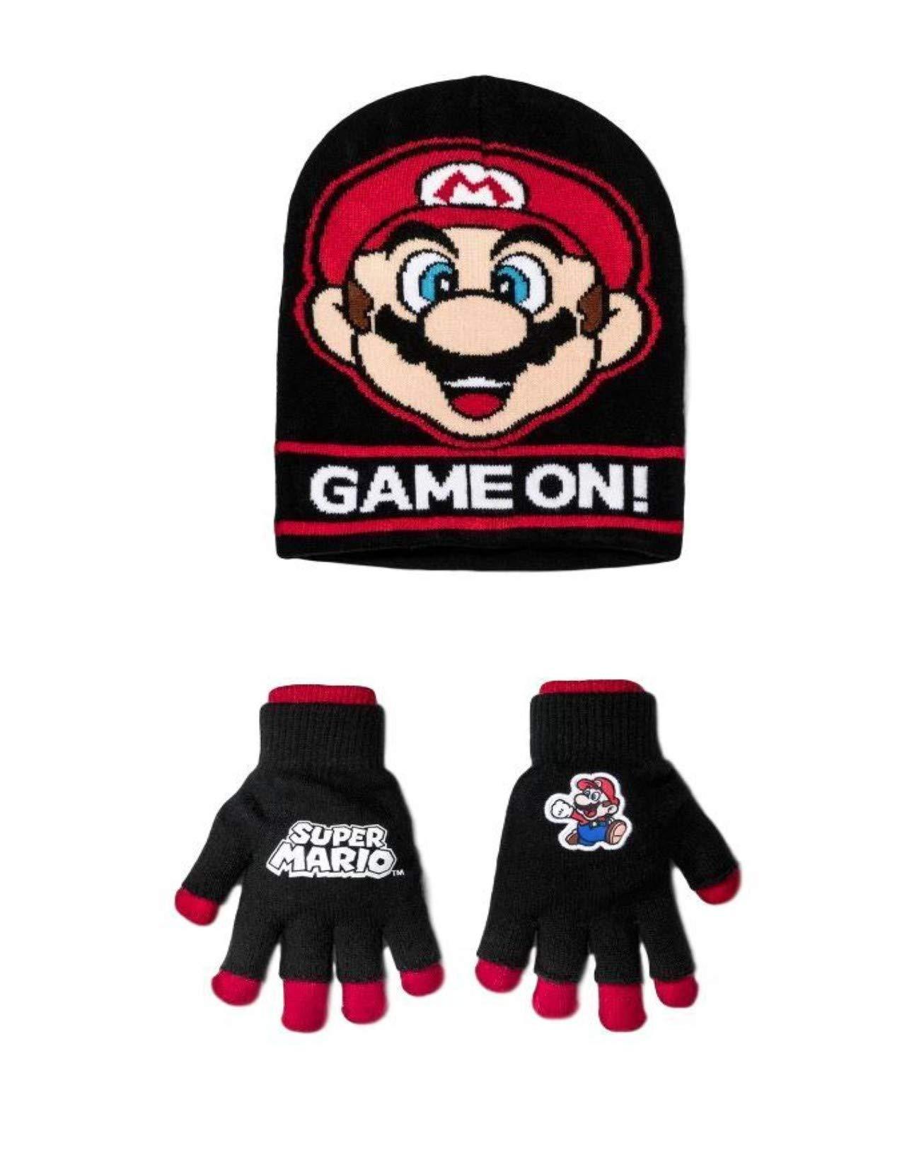 Mario Super Boy Winter Beanie Hat and Glove Set 2 pc Cold Weather Set