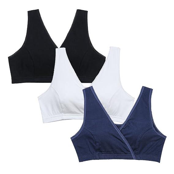 137e5d13d STELLE 3PACK Women s Soft Cotton Wireless Nursing Sleep Bra For Maternity Breast  Feeding (S