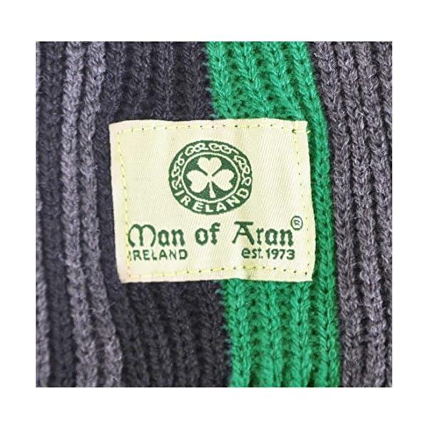 "Grey /& Charcoal Thin Stripes 8/"" X 62/"" Celtic Irish Gents Acrylic Scarf With Green"