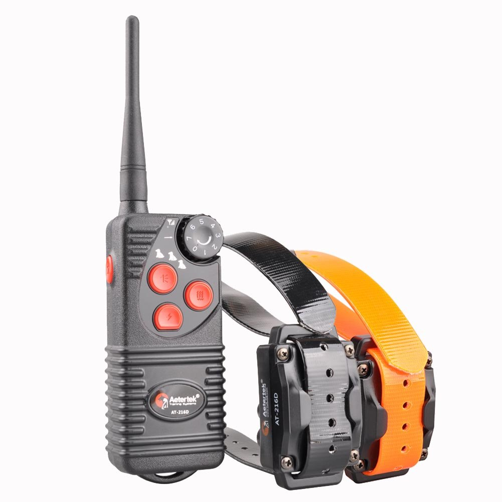 Aetertek Upgrade AT-216D 600 Yard Waterproof Rechargeable Remote Dog Training Shock Collar,Beep,Vibrate Stop Bark E Collar (for 2 Dogs)