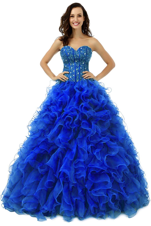 bluee Vantexi Women's Ruffled Organza Ball Gown Prom Quinceanera Dresses