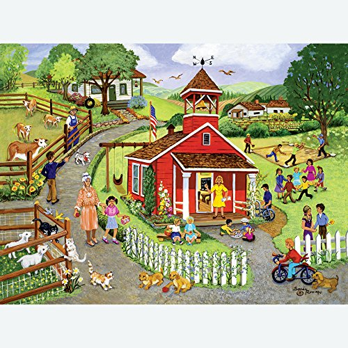 Bits and Pieces - 500 Piece Jigsaw Puzzle for Adults - Country Schoolhouse - 500 pc Small Town Farm Jigsaw by Artist Sandy -