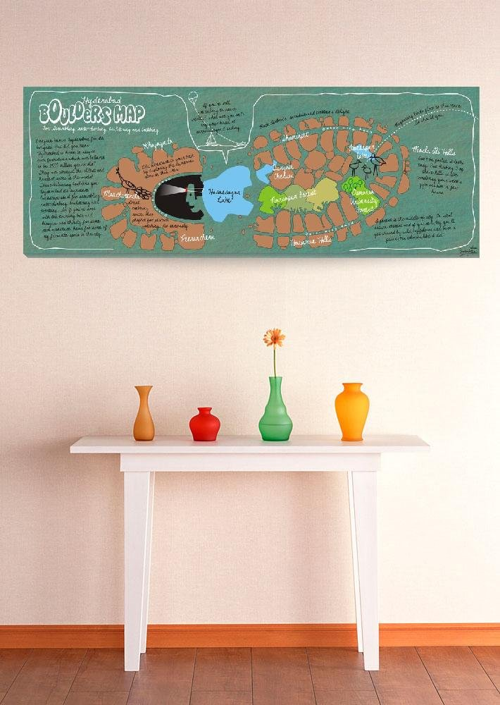 Wall Art Print entitled Boulders Map Of Hyderabad, India By Sanjay Rao by They Draw & Cook & Travel | 48 x 18