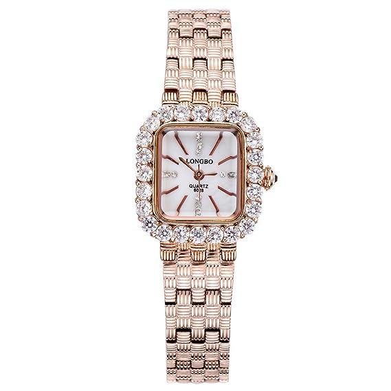 Longbo MUJER cristalino de lujo banda de acero inoxidable Rhinestone acentuado con negocios reloj oro rosa