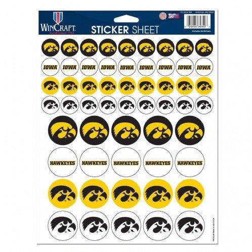 NCAA University of Iowa Vinyl Sticker Sheet, 8.5