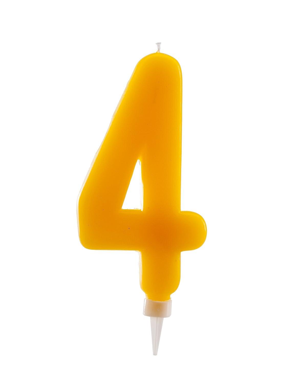 Dekora-345281 Vela de Cumpleaños Gigantes Número 4 de Color Amarillo, (345281)