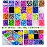 10,860+ Rainbow Loom Bands Refill Set Includes: 10,000 Premium Rubber Bands 42 Unique Colors, 500 Clips, 210+ Beads, 85 ABC Beads to Bracelet Making Kit for Kids, 46 Charms, 3 Backpack Hooks