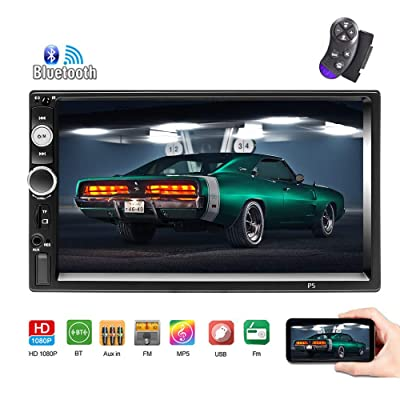 Bluetooth Car Stereo 2 Din 7'' Touch Screen Car Radio FM Receiver Mirror Link for iOS/Android Phone with Dual USB/AUX-in/SD Support Backup Camera Input + Steering Wheel Remote Control