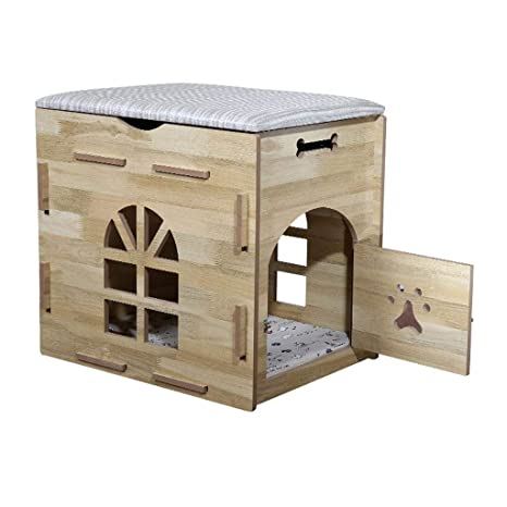 Cama para Perros Gato Casa de Mascotas de Madera de la casa para Mascotas pequeña del ...