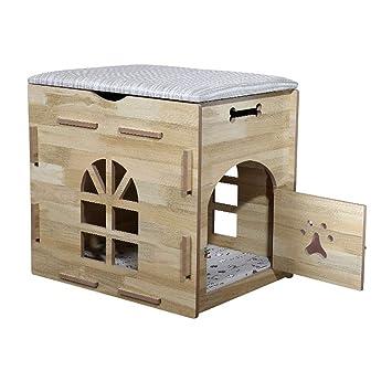Cama para Perros Gato Casa de Mascotas de Madera de la casa para Mascotas pequeña del