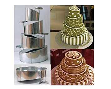 Euro Tins - Juego de moldes redondos para tartas de 4 plantas (15,2, 20,3, 25,4 y 30,5 cm), diseño de plantas desniveladas: Amazon.es: Hogar