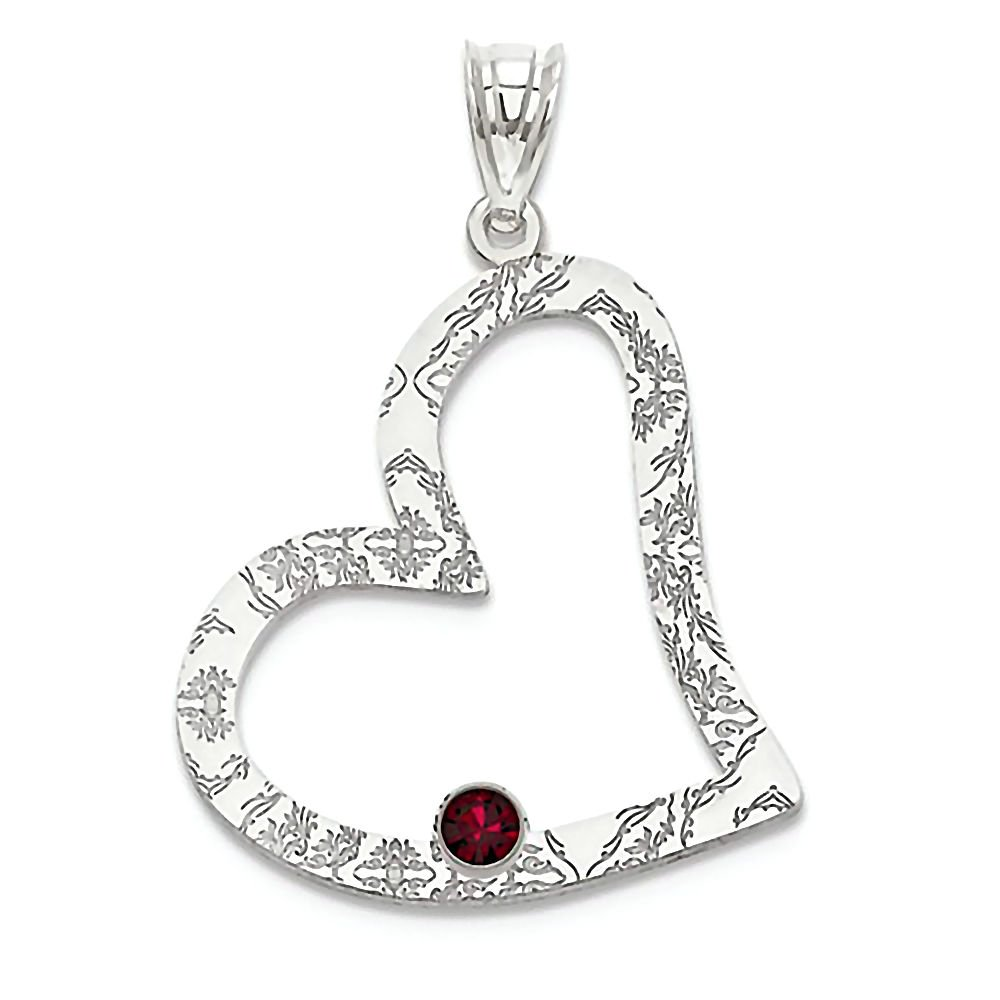 Trustmark 925 Sterling Silver Customized Family 1 Birth Month Inscribed Heart Pendant