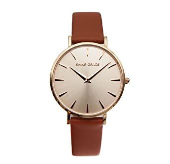 SHINE GRACE 32mm Classic Ultra-thin Womens Watches Rose Gold And Brown Quartz Watches Small