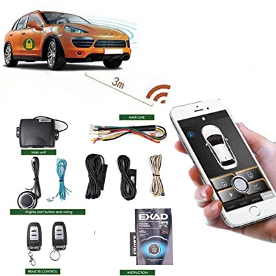 Car Alarm Systems Remote Engine Start Smart Key Push Button Keyless Entry Central Locking/unlock Universal Version 80-100M Smartphone pke with 2 Remote Control and Shock Sensor: Automotive