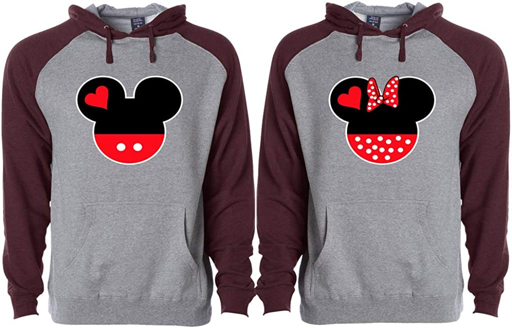 Women XX-Large Mickey and Minnie Head Matching Couple Set Disney Matching for Couples Maroon//Gray Men XX-Large