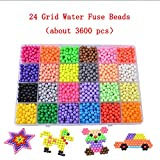 Kalolary Water Fuse Beads Kit 3600 Beads 24 Colours Bead Refill Magic Beads for Kids Creative Art Crafts Coordination Learning Toys (only 3600 Beads )