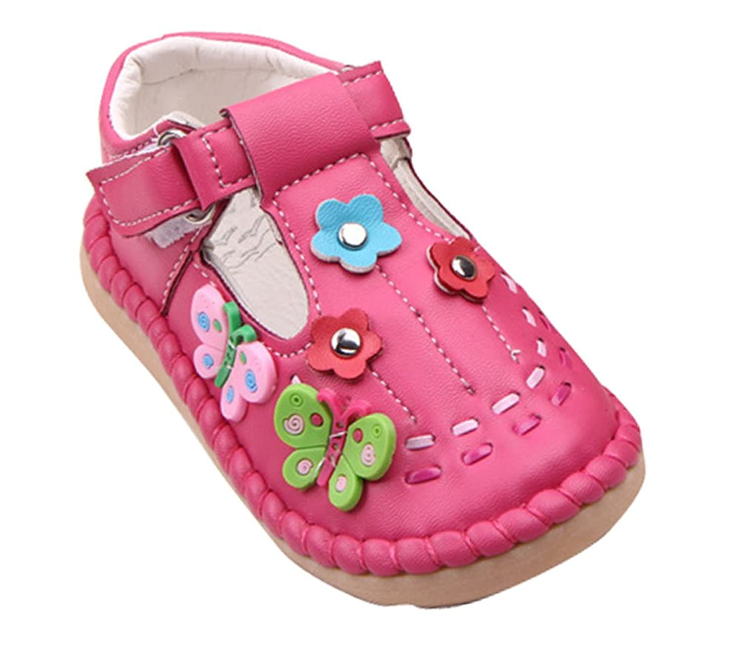 Amazon femizee toddler girls butterflyflower pattern pu amazon femizee toddler girls butterflyflower pattern pu leather flat shoes comfortable casual slippers slippers mightylinksfo