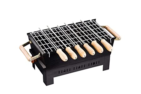 Starvin HotL Portable 6 Skewer Barbeque with Wooden Handles s-75